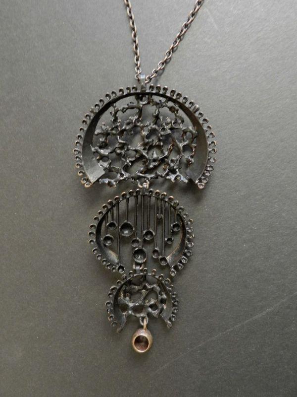 "Hannu Ikonen Finland Large Bronze Pendant 6"" Modernist Necklace"