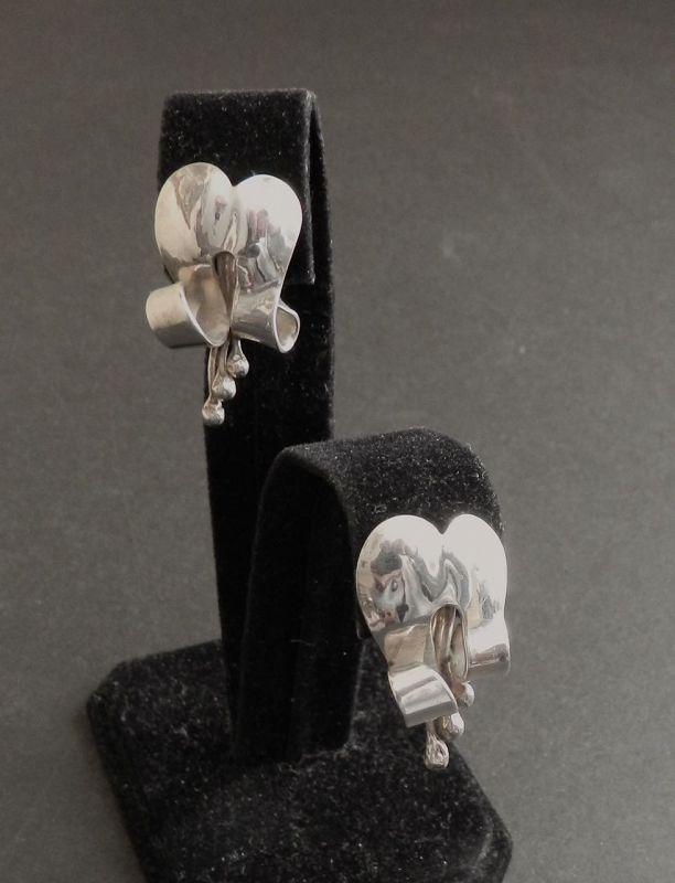 Charles H Cole Modernist Hand Made Sterling Earrings Face Hallmark