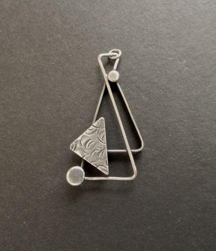 Paul Miller Sterling Vintage Mid Century Modernist Pendant Necklace