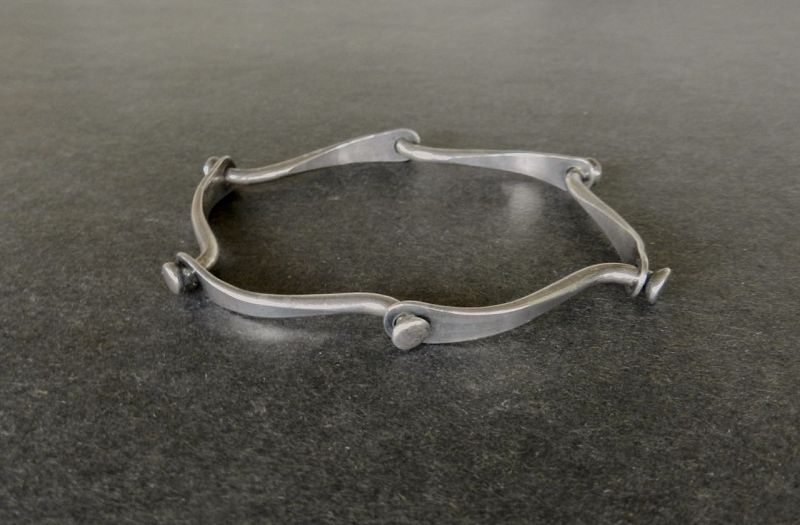 Vintage Henry Steig Modernist Sterling Silver Bracelet Riveted Bangle