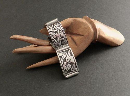 Vintage Pre Columbian Birds Silver Panel Bracelet Ecuador Signed