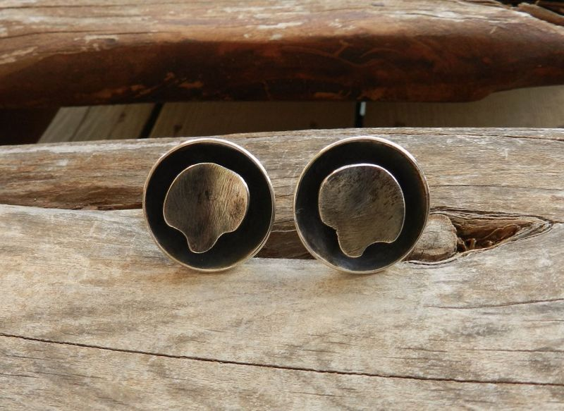 Rare Peter Macchiarini Modernist Sterling Earrings Signed Screw Backs