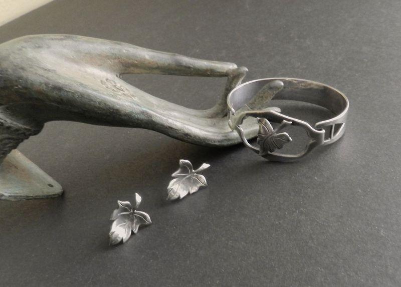 Black Starr Gorham Sterling Hand Wrought Bracelet Earrings Arts Crafts