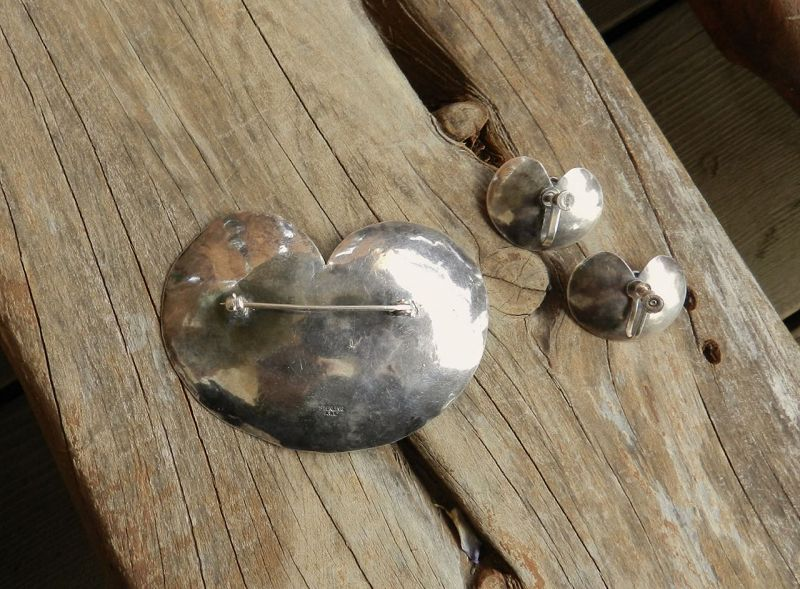 Hand Wrought Lily Pad Sterling Moonstone Brooch Earrings Mary Gage