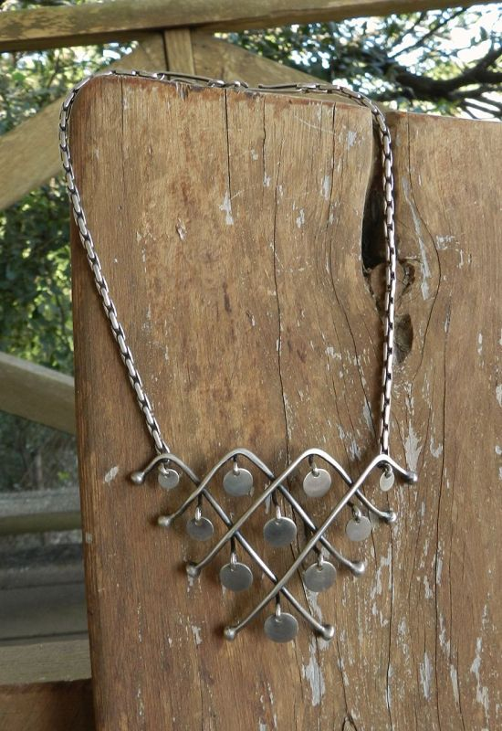 Ruth Berridge MCM Modernist Dangles Necklace Sterling Hand Wrought