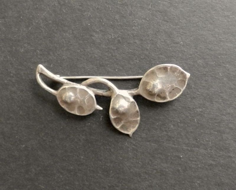 Vintage Jo Michels Hand Wrought Sterling Brooch Arts and Crafts