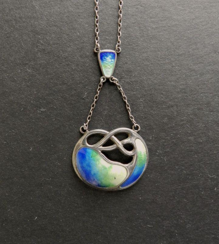 Vintage Sterling Silver Enamel Necklace Arts and Crafts Lavalier Blue