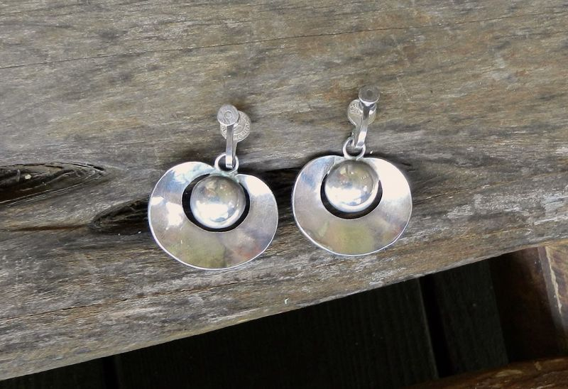 Spratling Silver Taxco Ball Hoops Earrings 1st Design Period Modernist