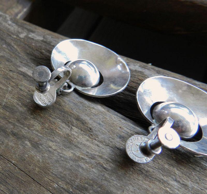 Spratling Silver Taxco Ball Hoops Earrings 1st Design Period Modernist