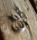 Antonio Pineda Taxco Modernist Sterling Hoop Earrings Clip Eagle