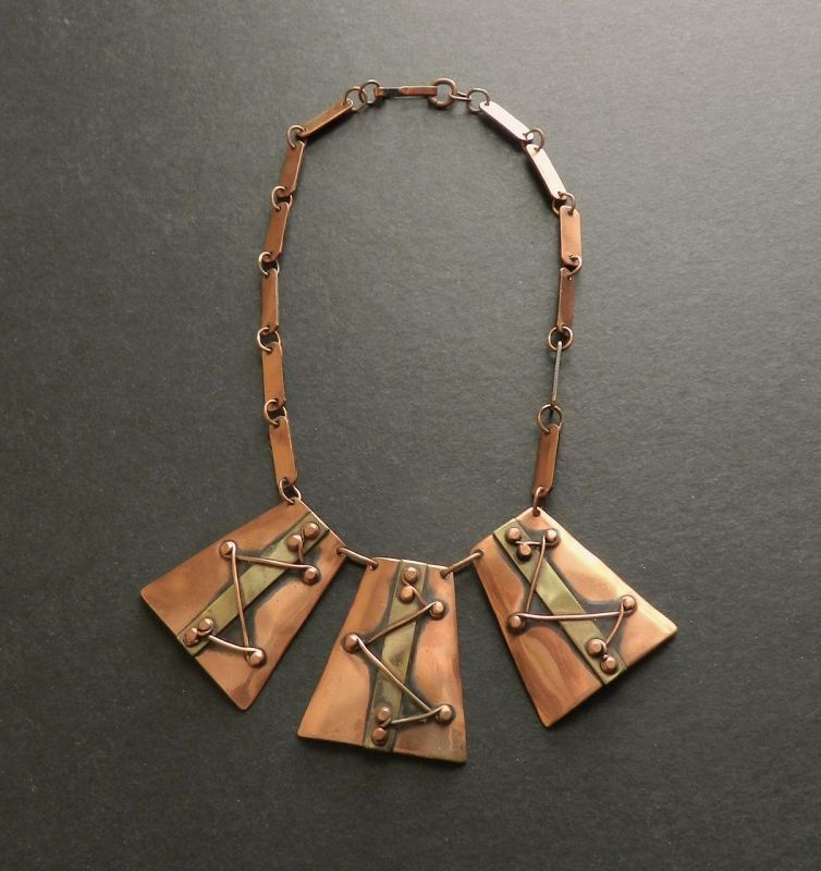 Winifred Mason Chenet d'Haiti Mixed Metals Modernist Pendant Necklace