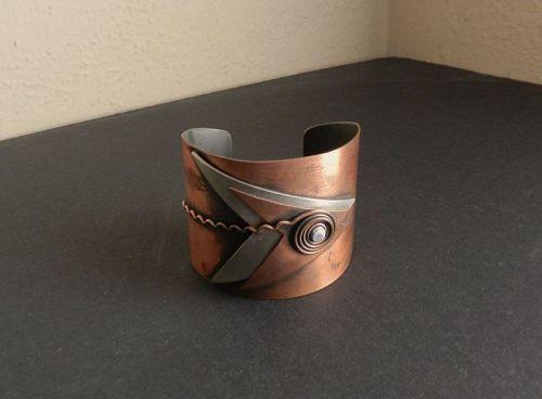 Rebajes Layered Fish Cuff Bracelet Hand Wrought Vintage Modernist
