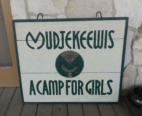 MUDJEKEEWIS A Camp for Girls Large Original Sign Lovell Maine