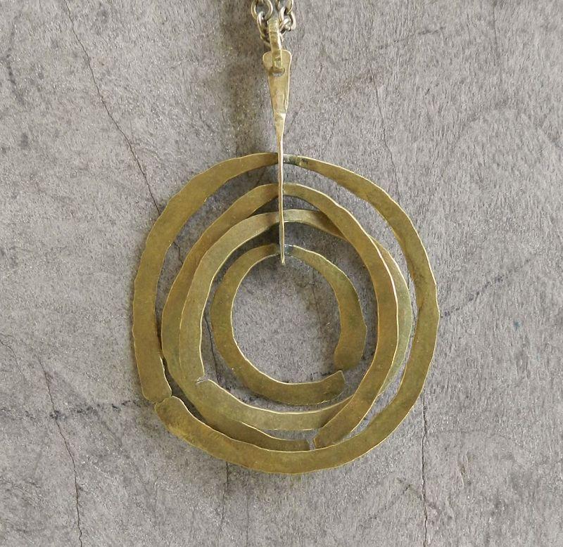 Vtg Modernist Bertoia Design Sculptural Pendant Hand Hammerd Brass