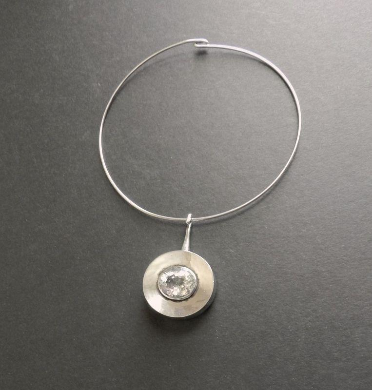 MCM Sweden Sterling Pendant Ove Bohlin Rock Crystal OUB + Neck Ring