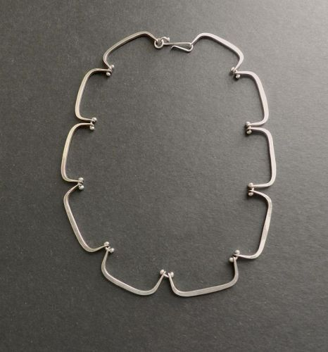 Gerald Stinn Vintage Modernist Sterling Hand Wrought Necklace Choker