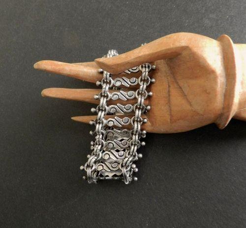 Vintage Chavarrieta Heavy Sterling Taxco Mexico Bracelet Pre Eagle