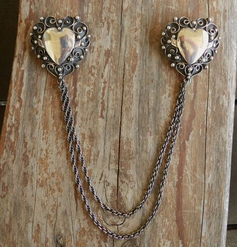 Lillian Pines Double Heart Brooch Chatelaine Sterling Heavy Filagre