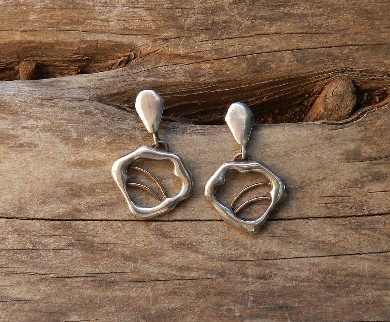 Vintage Studio Jeweler Polly Stehman Sterling & Gold Pierced Earrings