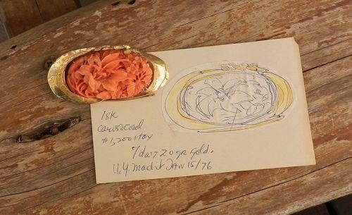 Janiye Miye Matsukata 18K & 24K Gold & Coral Brooch + Orig Sketch