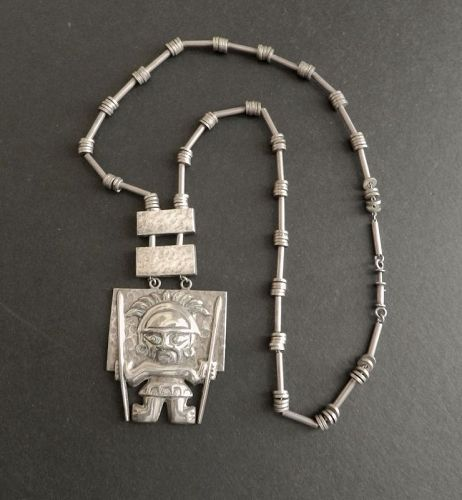 Vintage Graziella Laffi Heavy Sterling Inca God Pendant and Chain