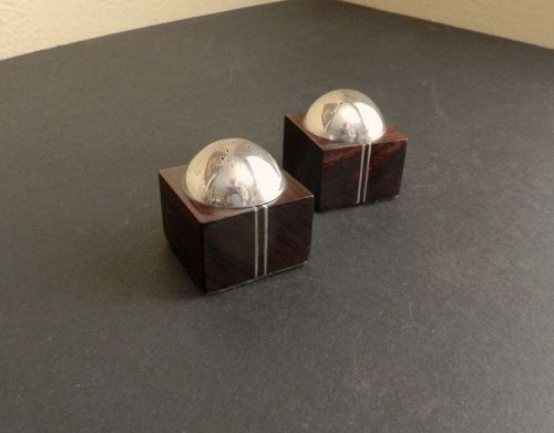 White Hogan Sterling Ironwood Salt & Pepper Shakers Modernist