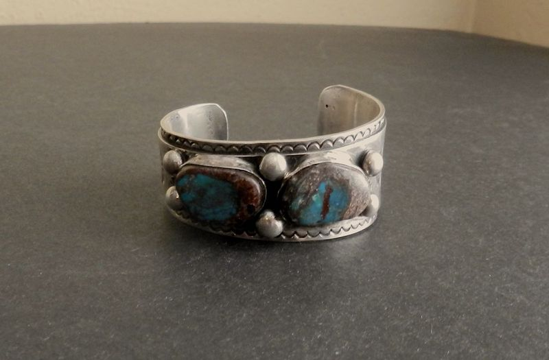 Vintage Heavy Native American Silver Turquoise Signed ML Cuff Bisbee