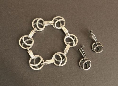 Vintage Paul Lobel Bracelet and or Earrings Circles Sterling MCM