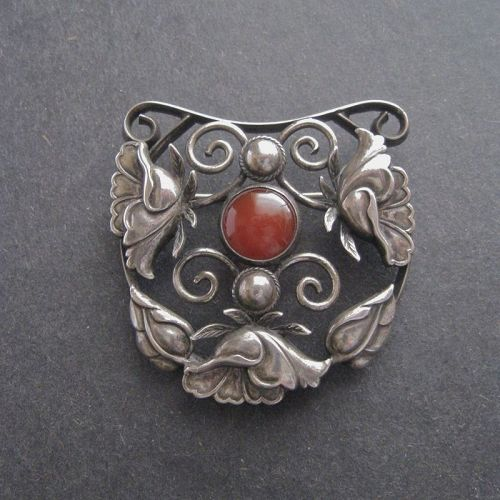 Vintage Arts and Crafts Sterling and Carnelian Brooch Pin Large