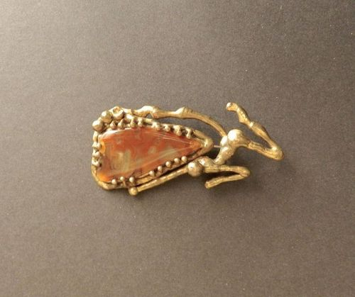 Vintage Hand Wrought Drippy Bronze Agate Pendant Brooch Nude