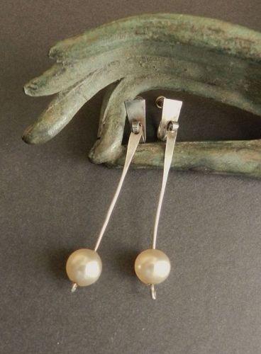 Vintage Sterling Pearl Dangle Hand Made Modernist Earrings Screw Back