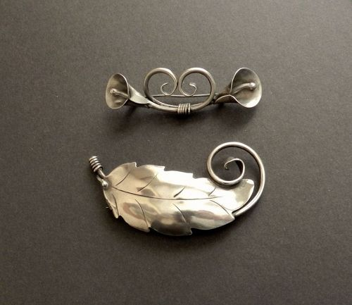 Vintage Sterling Hand Wrought Albino Manca Brooches Pair or Individual