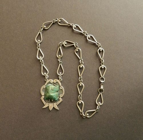 Bernice Goodspeed Taxco Sterling Necklace Carved Green Frog Pendant
