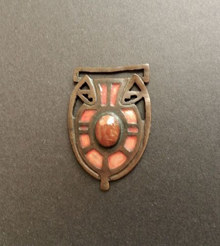 Vintage Fob Arts & Crafts Copper with Coral Colored Cabochon & Enamel