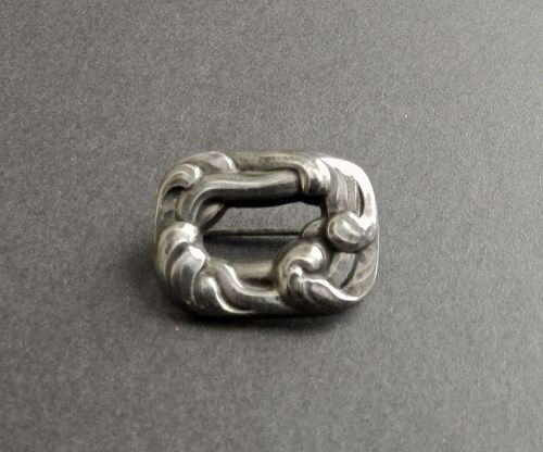 Early Georg Jensen GJ Sterling Silver Brooch 31 Denmark Trombone Clasp