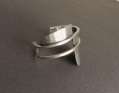 Vintage Henry Steig Modernist Sterling Silver Geometric Cuff Bracelet