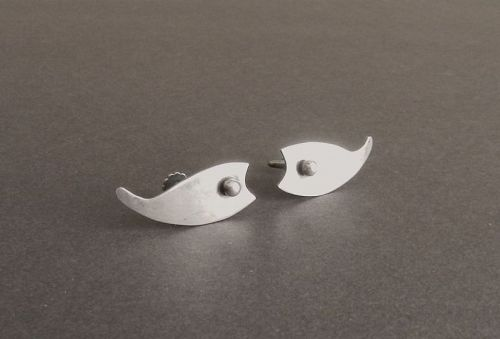 Vintage Modernist Henry Steig Stylized Fish Sterling Silver Earrings