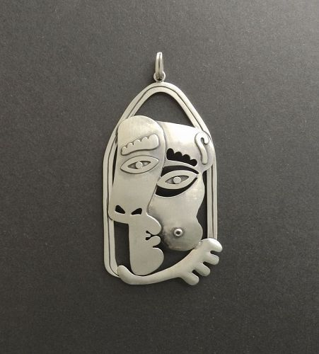 Modernist Jose Luis Flores Pendant Kiss Nude Breast Sterling Picasso