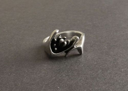 Gerald Stinn Vintage Modernist Sterling Ring Abstract Size 7 Hand Made
