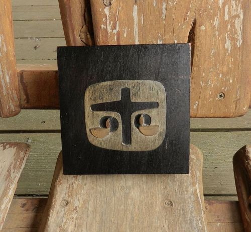 EMAUS MCM Wall Plaque Cross Sterling Wood Copper Mexican