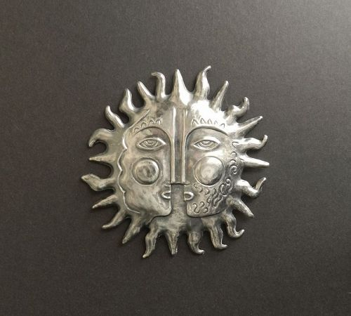 "EMAUS MCM Large 4 1/4"" Sterling Sun Brooch Pendant Eagle #3 Mexican"