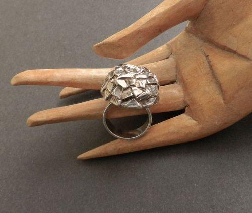Vintage Sweden Modernist Brutalist Ring Sterling Silver Size 5 1/2-6