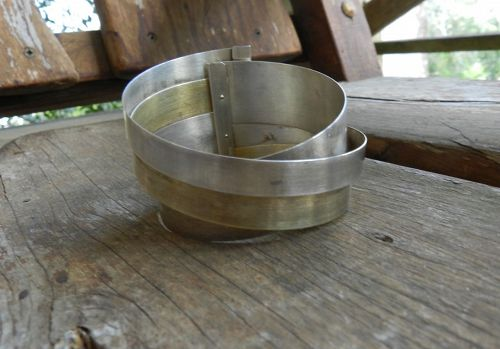 Vintage Modernist RADOS�AW SZWED Sterling Cuff Ribbons Bracelet Poland