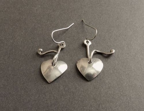 Rare Peggy Ackerly Vintage Sterling Heart Earrings Pierced Hand Made