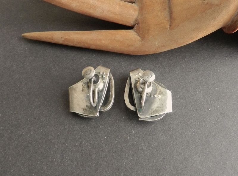 Vintage Sterling Modernist Abstract Hand Made Screw Back Earrings