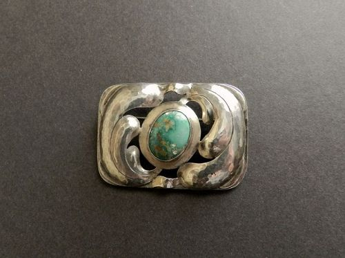 Bjarne Meyer Handwrought Sterling Silver Brooch Turquoise Stone