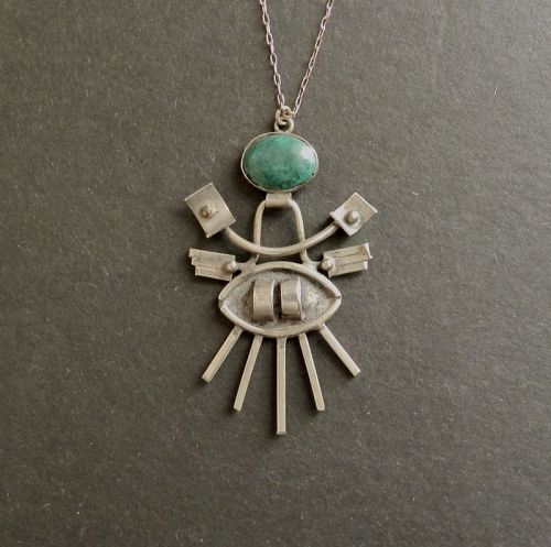 Vintage Modernist Abstract Pendant 900 Silver Green Stone Necklace