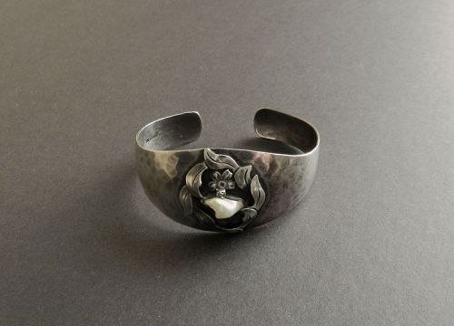 Arts and Crafts Handwrought Hammered Sterling Bracelet Cuff with Pearl