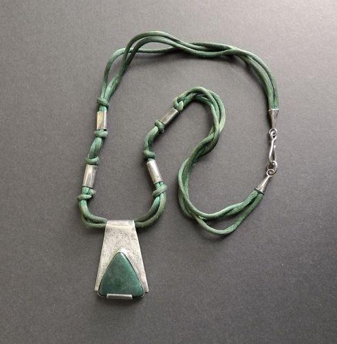 Vintage Mary Schimpff Sterling Hand Made Pendant Green Stone Modernist