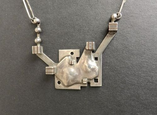 Vintage HandMade Modernist Industrial Sterling & Copper Pendant Chain